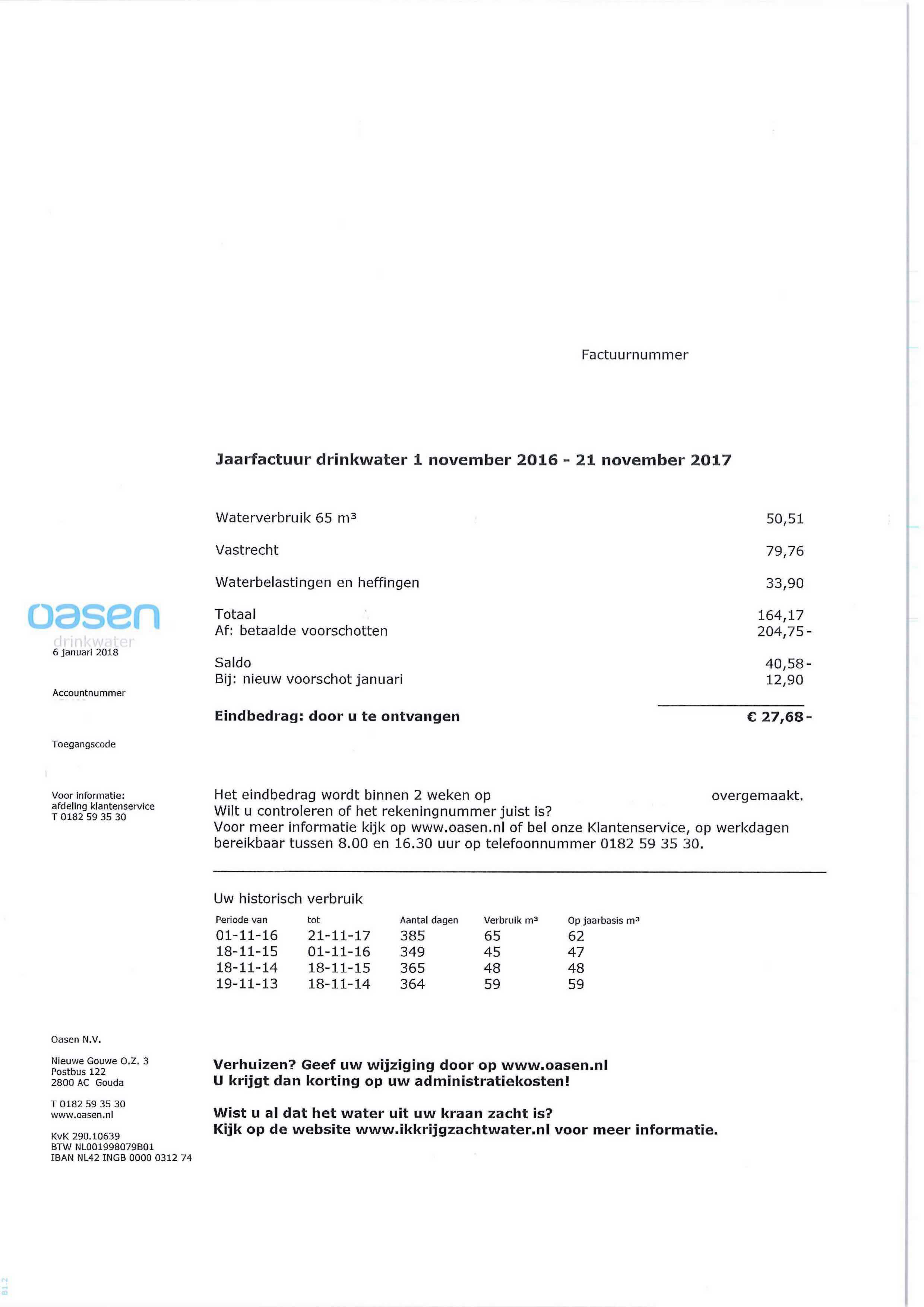 factuur bekijken Alles over de drinkwaterfactuur | Oasen.nl